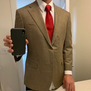 44R Canali 2-Button Silk & Wool Houndstooth Jacket